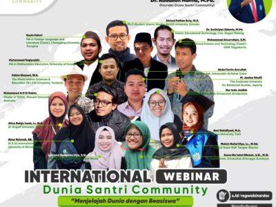 """International Webinar Dunia Santri Community """"Menjelajah Dunia dengan Beasiswa"""""""
