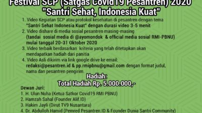 "Satkor Covid-19 RMI PBNU Adakan Lomba Vidio Bertema ""Santri Sehat, Indonesia Kuat"""