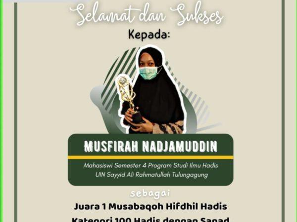 Keren Mahasiswi UIN SATU Tulungagung Juara 1 Musabaqah Hifdzil Hadis Katagori 100 Hadits